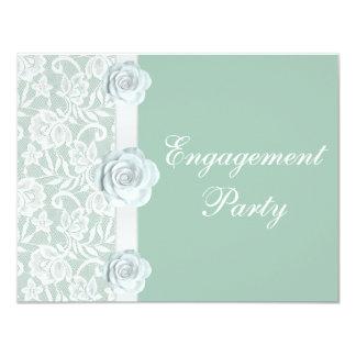 Rosas blancos y fiesta de compromiso de la verde invitación 10,8 x 13,9 cm