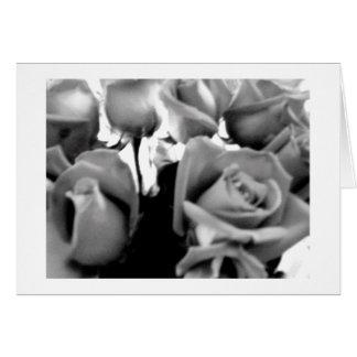 Rosas blancos y negros de la tarjeta del día de