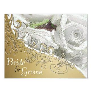 """Rosas blancos y oro - el casarse echado a un lado invitación 4.25"""" x 5.5"""""""