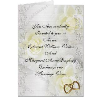 Rosas blancos y perlas de la invitación del boda tarjeta de felicitación