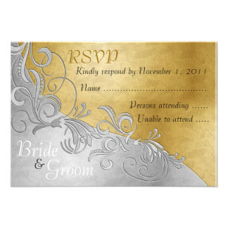 Rosas blancos y plata - tarjeta de RSVP de la novi