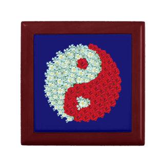 Rosas blancos y rojos Yin Yang Cajas De Regalo