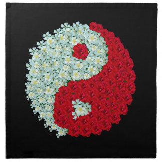 Rosas blancos y rojos Yin Yang Servilletas De Papel