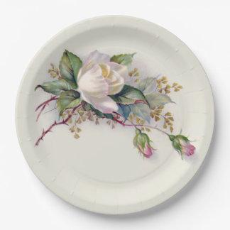 Rosas blancos y rosados Plate2 de papel del Plato De Papel De 9 Pulgadas