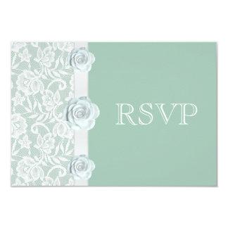 Rosas blancos y verde menta RSVP del cordón Invitación 8,9 X 12,7 Cm