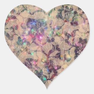 Rosas bonitos del cordón pegatina en forma de corazón