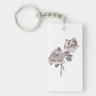 Rosas bosquejados llavero rectangular acrílico a una cara
