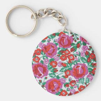 Rosas bosquejados rosados y rojos vibrantes llavero redondo tipo pin