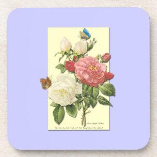 Rosas botánicos del vintage blanco rosado posavasos