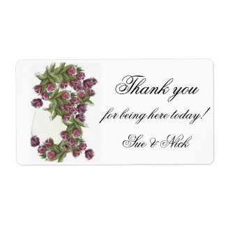 rosas  bouquet  thank you  favor label