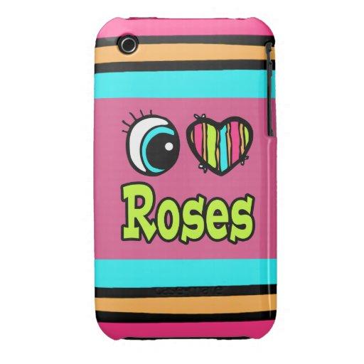 Rosas brillantes del amor del corazón I del ojo iPhone 3 Cárcasa