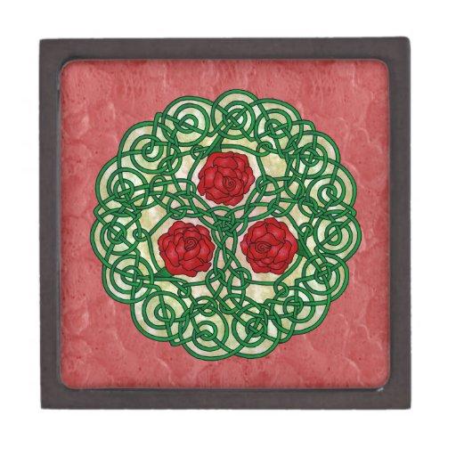 Rosas célticos del arte rojos caja de regalo de calidad