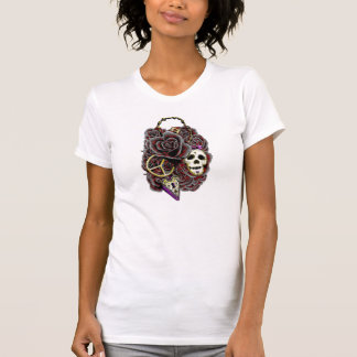 Rosas cerradura y llave del cráneo camisetas