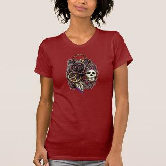 Rosas cerradura y llave del cráneo camiseta