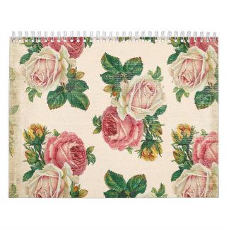 Rosas color de rosa lamentables rústicos del rosa calendario de pared