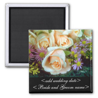 Rosas color nata imán cuadrado