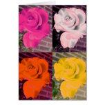 Rosas coloreados multi del estilo de Warhol Tarjetas