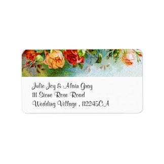Rosas coloridos del vintage etiquetas de dirección