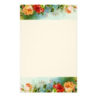Rosas coloridos del vintage papelería