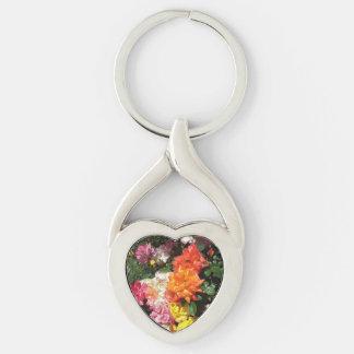 Rosas coloridos llavero plateado en forma de corazón
