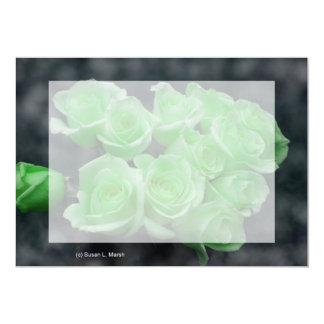 """Rosas colorized verde del manojo invitación 5"""" x 7"""""""