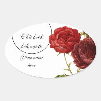 Rosas de color rojo oscuro del vintage que pintan pegatina ovalada