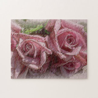 Rosas de color rosa oscuro - rompecabezas