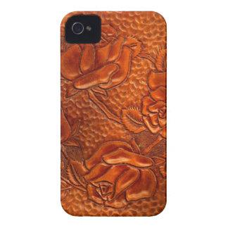 Rosas de cuero occidentales equipados vintage iPhone 4 Case-Mate funda