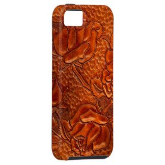 Rosas de cuero occidentales equipados vintage iPhone 5 carcasa