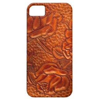 Rosas de cuero occidentales equipados vintage iPhone 5 Case-Mate carcasa