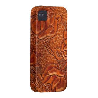 Rosas de cuero occidentales equipados vintage vibe iPhone 4 carcasas