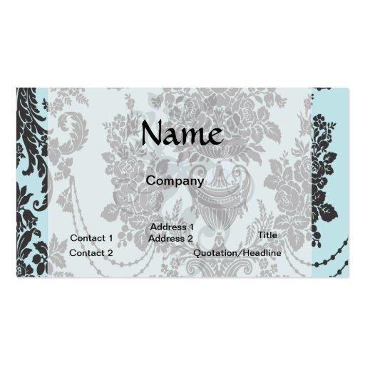 rosas de damasco azules claros y black.ai tarjetas de visita