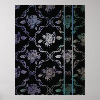 Rosas de damasco negros del vintage y azulverdes e impresiones