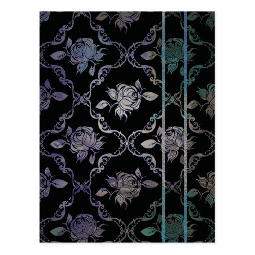Rosas de damasco negros del vintage y azulverdes tarjeta postal