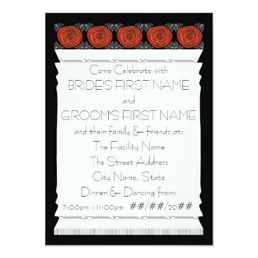 """Rosas de Decofied (la recepción nupcial) Invitación 4.5"""" X 6.25"""""""