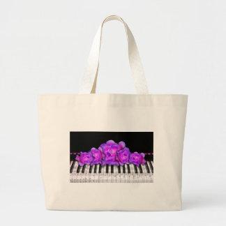 Rosas de Fushia y teclado y notas de piano Bolsa Tela Grande