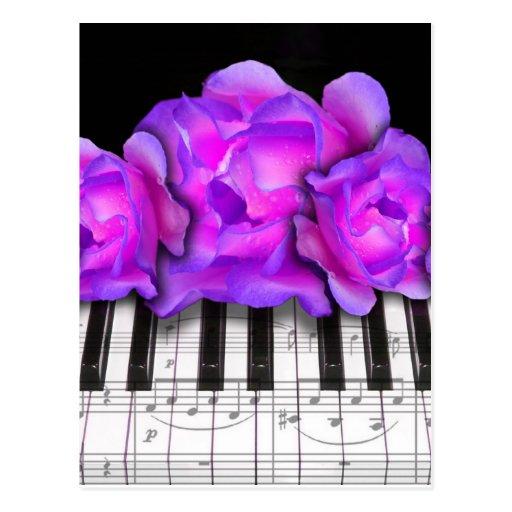 Rosas de Fushia y teclado y notas de piano Postal