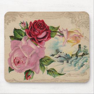 Rosas de invierno del Victorian Mousepad Alfombrillas De Ratones