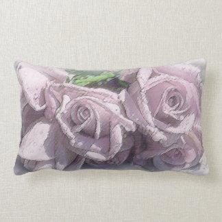 Rosas de la acuarela y hojas de plata del verde en cojin