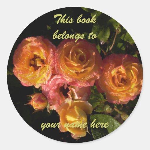 rosas de la mañana del bookplate pegatina redonda
