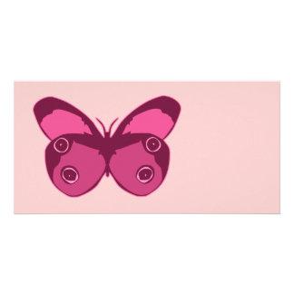 Rosas de la mariposa plantilla para tarjeta de foto