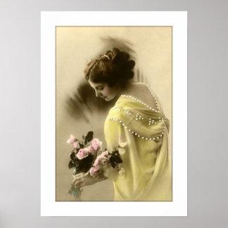 rosas de la mujer del victorian, románticos póster
