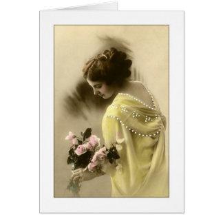 rosas de la mujer del victorian, románticos tarjeta de felicitación