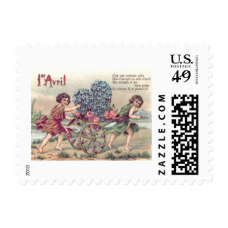 Rosas de la nomeolvides del carro de los pescados sellos postales