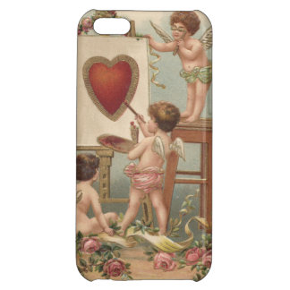 Rosas de la pintura del corazón del Cupid subiós