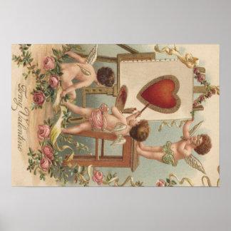 Rosas de la pintura del corazón del Cupid subiós Póster