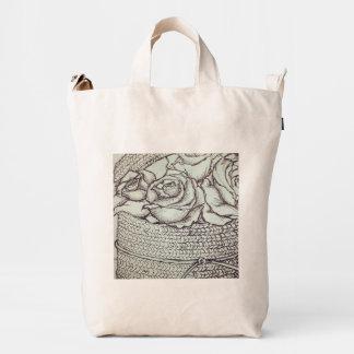 rosas de la pluma y de la tinta bolsa de lona duck