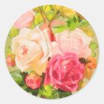 Rosas de la primavera etiqueta redonda