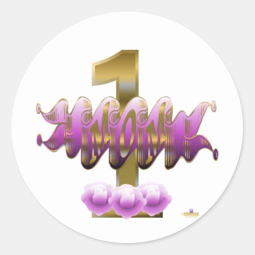 Rosas de la púrpura de la mamá #1 pegatina redonda