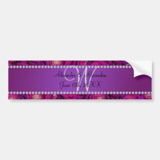 Rosas de la púrpura del monograma del boda pegatina de parachoque
